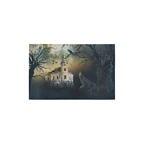 InterestPrint Haunted Castle with Wolf Howling Carpet Non Slip Modern Area Rugs 2'7