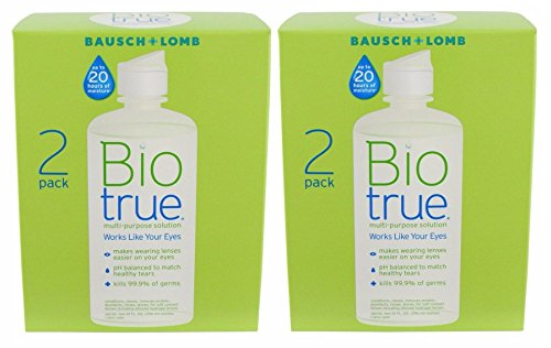 (Bausch and Lomb BioTrue Soft Contact Lense & Silicone Hydrogel Lense Moisturizing Solution 10 oz, 2 Twin Packs)