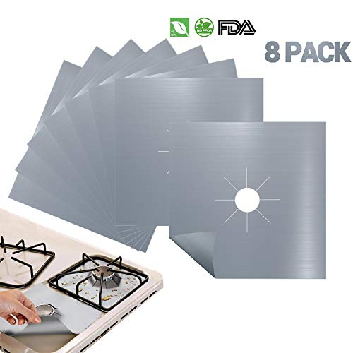 Price comparison product image Antallcky 8-Pack Silver Gas Range Protectors Stovetop Burner Protector Liner Cover Clean Mat Pad, Reusable,  Non-Stick,  Dishwasher Safe,  Easy to Clean 8 Pack - Size 10.6 x 10.6 inch