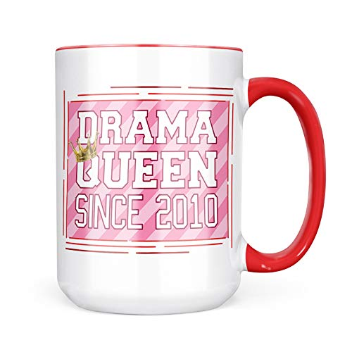 New 2010 Queen - Neonblond Custom Coffee Mug Drama Queen since 2010, in pink 15oz Personalized Name