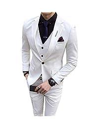 ToonySume Mens Suit Slim Fit Suit Man Set Tuxedos Groomsmen Suit for Wedding White Men Suits