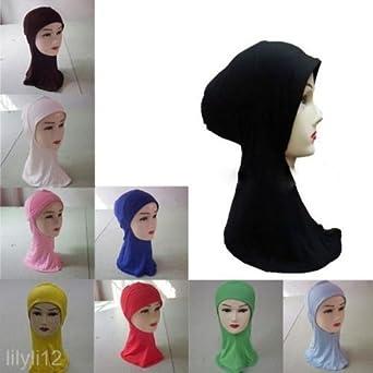 Joli Foulard Islamique Châle Bonnet Hijab Turban Écharpe Musulman en Coton  Bleu Foncé