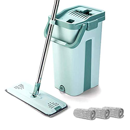 CLEAN LEADER Professional Microfiber Floor Mop and Bucket Kit,Self-cleaning System,Wet and Dry Mop For Hardwood,Laminate and Tile Flooring-3 Washable Flat Microfiber Mop Pads Included.