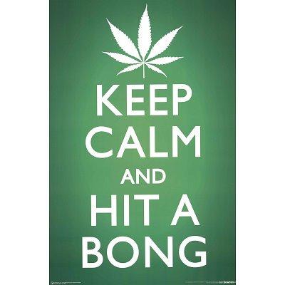 Keep Calm and Hit a Bong Pot Marijuana Art Poster Print - 24x36 custom fit with RichAndFramous Black 24 inch Poster Hangers