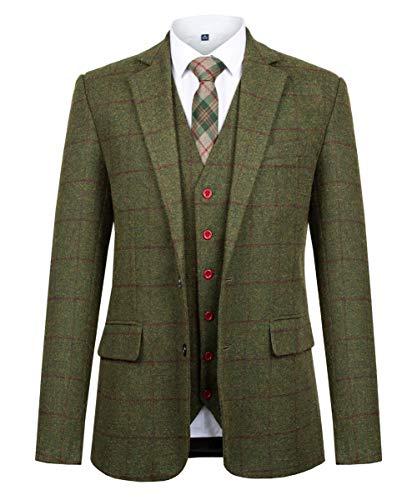 (CMDC Men Suit Slim Fit Tweed Wool Blend Herringbone Vintage Tailored Modern Fit Suit SI175-SPV-Green Plaid-46R)