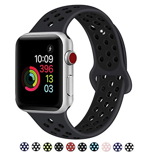 DOBSTFY Compatible for 2018 Watch Bands 38mm 42mm,Soft Silicone Sport Band Replacement Wristband Compatible for iWatch Series 1/2/3/4/5, Ni ke+, Sport, Edition, 42mm M/L, Anthracite/Black