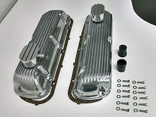 Pirate Mfg Sb Finned Aluminum Valve Cover W/Breather Kit Sbf V8 260 289 302 351W ()