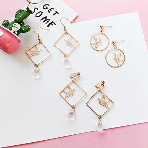18K Gold Plated Simple Hollow Out Paper Cranes Water Droplets Pendant Dangle Hook Earrings For Women Girls by FURONGWANG (Image #4)