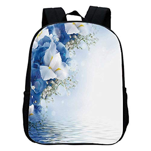 (Light Blue Fashion Kindergarten Shoulder Bag,Blue Hydrangeas and White Irises over The Sea Romantic Bouquet Dreamy For Hiking,One_Size )