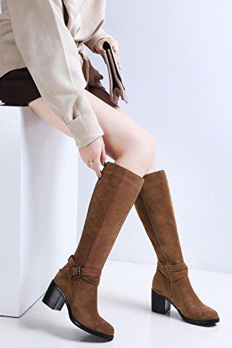 Tonda Tacco Marrone al Stivali Stivali da Tenere Testa Occidentale Spessa con Cavaliere in Donna Caldo Pelle Alto a Vera Stile Stivali Inverno da pq6SxCBP