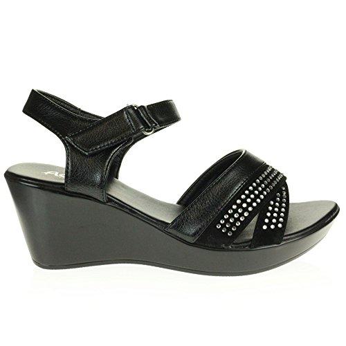 AARZ LONDON Frau Damen Diamant Beiläufig Komfort Sommer Leicht Schlüpfen Mittel Keilabsatz Sandalen Schuhe Größe Schwarz