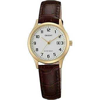 Orient Womens 28mm Brown Leather Band Gold Plated Case Quartz White Dial Analog Watch FSZ3N003W0