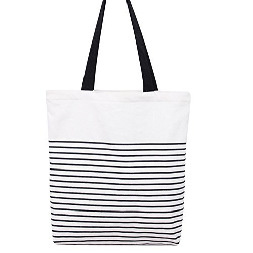 Women's Black Stripe Print Canvas Tote Bag Shoulderbag White (black-zip) (Tote Stripe White)