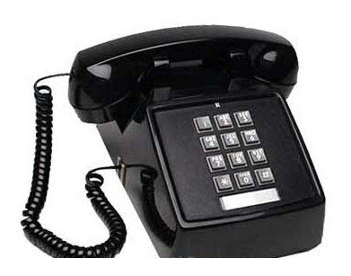 (Black Push Button Vintage Style Corded Desk Telephone)
