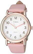 Timex Women's TW2T30900 Weekender 38 Pink/Rose Gold-Tone Leather Two-Piece Strap Watch