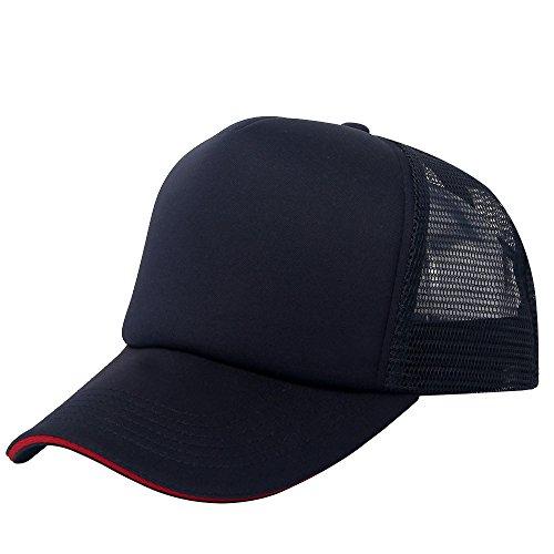 Plain Polyester Sandwich Baseball cap Mesh Trucker cap For Unisex Adjustable Blank hat (navy/red sandwich) (Sandwich Blank Cap)