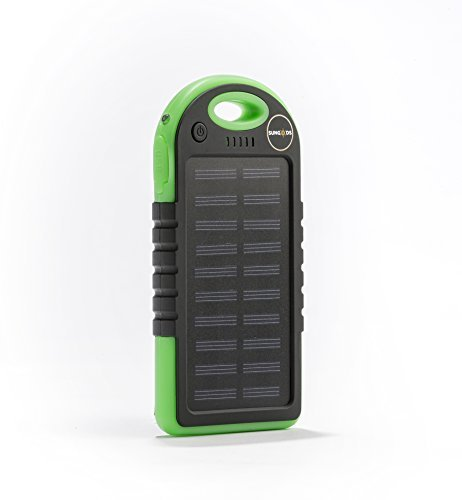 Solar Charger, Sun-gods Solar Technologies,(USB cable included) 5000mAh Portable Solar Power Bank Dual USB Battery Bank for cell phone,iPhone,Samsung,Android phones. (green)