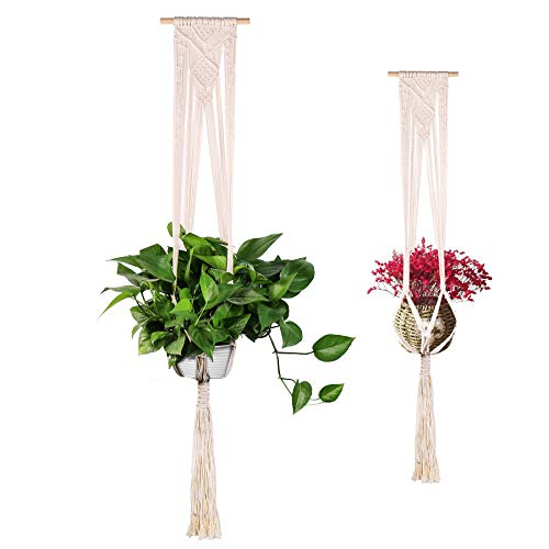 - Anglink Macrame Plant Hanger, 2 Pack Wall Hanging Planters with 4 Hooks, Flower Pot Holder Basket Boho Home Decor Stand for Indoor Outdoor Plants