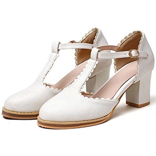 COOLCEPT Damen Mode-Event Blockabsatz Hohe Ferse D Orsay Pumps T Strap Sandalen Shoes White