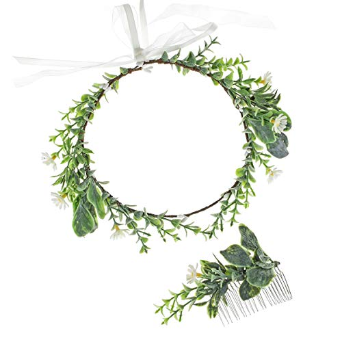Floral Fall Artificial Baby Breath Flower Halo Wedding Crown Lilac Bridal Headpiece Greenery Crown HC-24 (Set White Daisy)