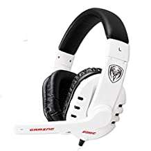 GranVela® G927 Digital Virtual 7.1 Surround Sound Stereo Over-the-Ear Gaming Headset with Noise Reduction Microphone, LED Lighting, Volume Control for PC, Notebook (White)