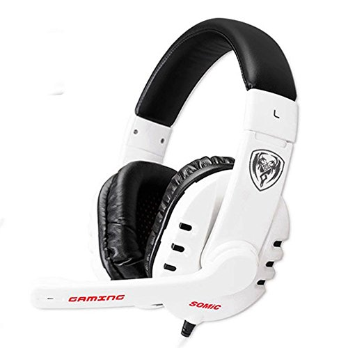 GranVela G927 Digital Virtual 7.1 Surround Sound Stereo Over-the-Ear Gaming Headset with Noise Reduction Microphone, LED Lighting, Volume Control for PC, Notebook (White)