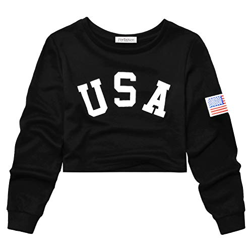 Perfashion Women's Cropped Tops Black USA Flag Embroidery Long Sleeve Stripe Shirts Pullover Loose Sweatshirts