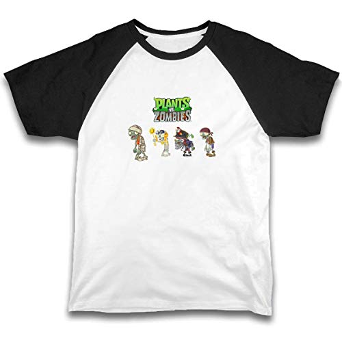 JTKPE Girls Boys Printed Short-Sleeve T-Shirt Plants Vs Zombies Black]()