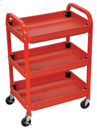 Luxor Compact Adjustable Height 3 Shelves Utility Cart – Red