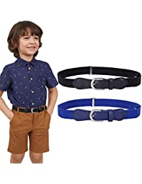 JASGOOD Kids Elastic Adjustable Belts, Stretch Belts for Boys and Girls with Leather Closure 2 Pack,Black+Blue,Suit for Pants Size 20-28 Inches