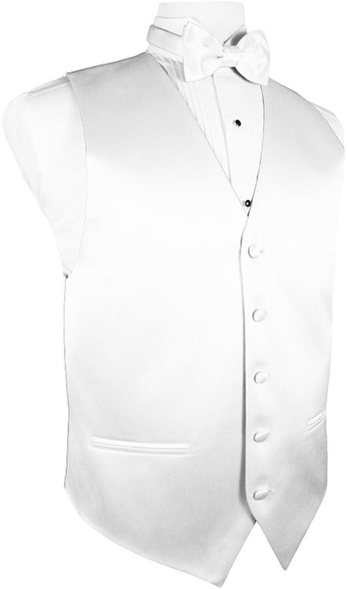 Cardi Mens Solid Satin Tuxedo Vest /& Coordinating Bow Tie