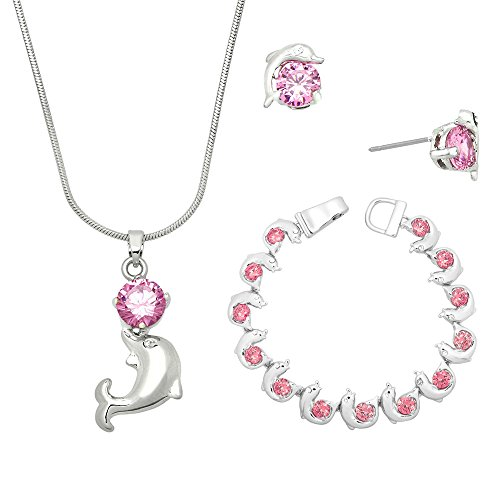 Dolphins Set Earrings - Lola Bella Gifts Pink Crystal Dolphin Necklace Earrings and Bracelet Set w Gift Box