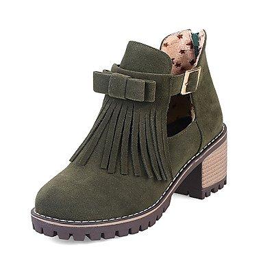 Støvler Støvletter Cn36 Cn40 Ue39 Runde Mode Støvler 5 5 Ue36 Spænde Beklædning Støvler er Casual Uk4 Grøn Tå Brun Us8 Tassel Til Vinter Damesko Us6 Wuyulunbi Uk6 Grøn pCwq50x