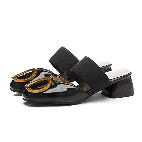 Baotou de Gran para una Zapatillas Zapatos Black Simples y con Mujer Mujer con Arrastre cantidad Mujer Pulsera de Cool Sandalias Sandalia POwY4