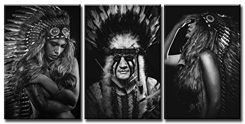 JiazuGo - Native American Indian Pictures Canvas Wall Art Decor Black White Photo of Man and Sexy Girl Wearing Feathers Indigenous Tribe God Paintings Artwork for Living Room Home Framed Decorations