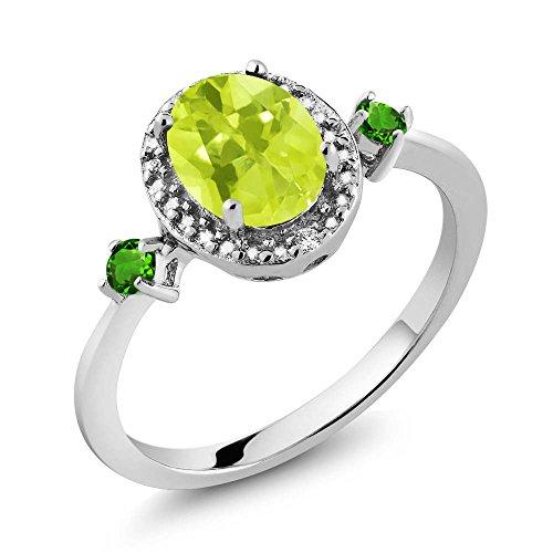 Gem Stone King 1.25 Ct Oval Lemon Quartz Simulated Tsavorite 925 Silver Ring w- Accent Diamond