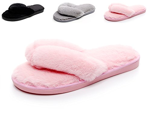 Pink Slide Havina Soft Fur Women's Slipper House Faux Open Toe Terry rvq1Iwvntx