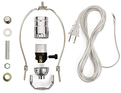 Creative Hobbies ML93H Silver Finish Make-A-Lamp Kit With All Parts Needed and Instructions for DIY Lamp Design or Repair
