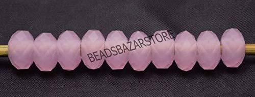 Rose Quartz Facet Rondelle Beads - 5 Piece of Pink Rose Color Quartz European Bracelet Fit Charm Big Facet Large Hole Beads 13x7mm 5mm Hole 10 Piece 5 Matched Pair by LadoNarayani