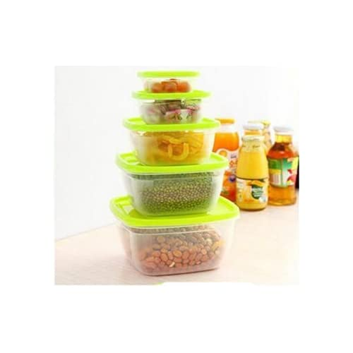 Henglian Compartment Reusable Food Storage Containers Set with Lids, Microwave and Dishwasher Safe, Bento Lunch Box, Stackable (5, Green)