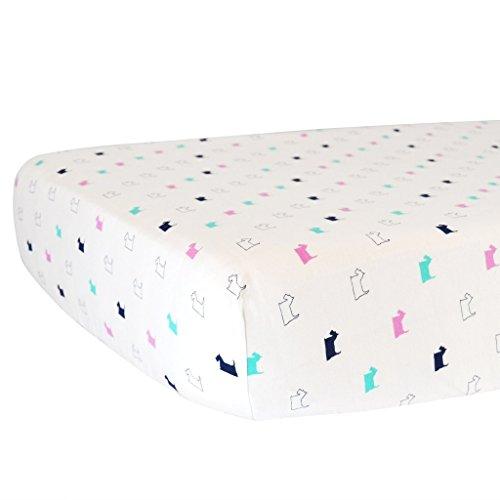 - Hello Spud - Girl Scottie Print Fitted Crib Sheet Organic Cotton - Super Soft Jersey