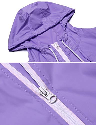 Ligera Mujer Chaqueta Deportiva para para zhenwei Impermeable Gris Exterior Chaqueta Capucha con Púrpura Mujer wIqqxX