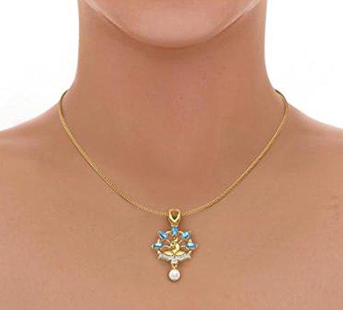 18K Or jaune 0,13CT TW Round-cut-diamond (IJ | SI) et topaze Bleu et blanc perle Pendentif
