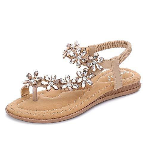 Fnnetiana Womens Summer Flat Sandals Comfortable Beach Shoes Bohemian Rhinestone Beaded Flip Flops Sandals(8 B(M) US,Beige) -