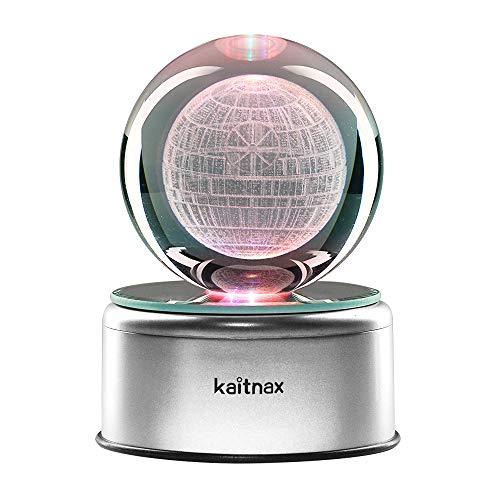 3D Cool Laser Etching Crystal Ball Night Light Gift Lamp for Kids Children Christmas (Death Star) ()