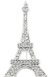 Chrome Paris Eiffel Tower Crystal Brooch and Pendant
