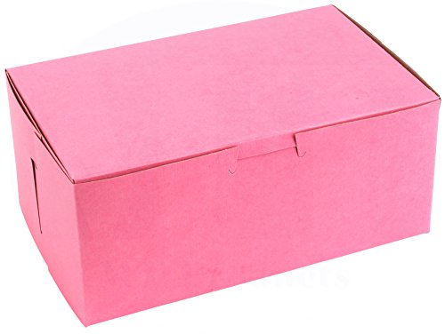 "8"" Length x 5"" Width x 3 1/2"" Height Clay-Coated Paperboard Non-Window Lock Corner Pink Bakery Box by MT Products (Pack of 15)"