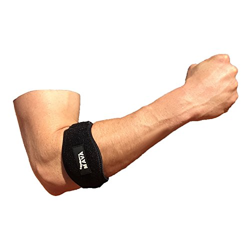 Elbow Brace Support by MavaSports for Tennis, Golf, Workout. Elbow Pad with Gel Compression , Wrist Sweatband - One Size Fits All
