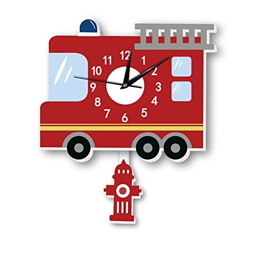 eroute66 Cute Cartoon Fire Truck Wall Silent Clock Kid Bedroom Nursery Home Decoration