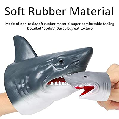 GROBRO7 3Pack Shark Hand Puppet Finger Puppet Toys Set Realistic Soft Rubber Shark Puppet Sea Animal Shark Head Role Play Toys Scary Shark Beach Bath Toys for Kids Boys Girls: Toys & Games